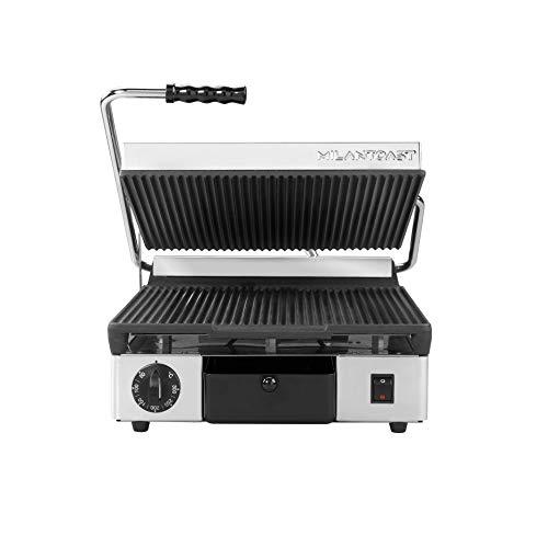 MILAN-TOAST Placa de hierro fundido cuadrada inferior lisa y superior estriada eléctrica para cocinas profesionales, 2,9 W