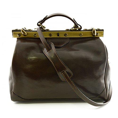Leder Arzttasche, 2 Seitentaschen Farbe Dunkelbraun - Italienische Lederwaren - Aktentasche