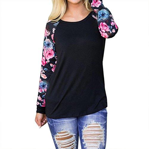 Sweatshirt Damen Kolylong® Frauen Elegant Blumen Drucken Langarm Bluse Herbst Locker Langarmshirts Loose T-Shirt Mode Hemd Tops Oberteile Sport Pullover (XL, Schwarz)