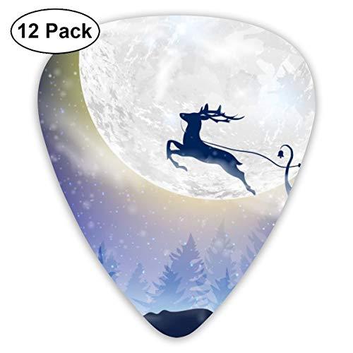 Gitaar Pick Kerstman vliegt met herten op een slee voor kerst 12 stuk Gitaar Paddle Set gemaakt van milieubescherming ABS materiaal, Geschikt voor gitaren, quads, enz.