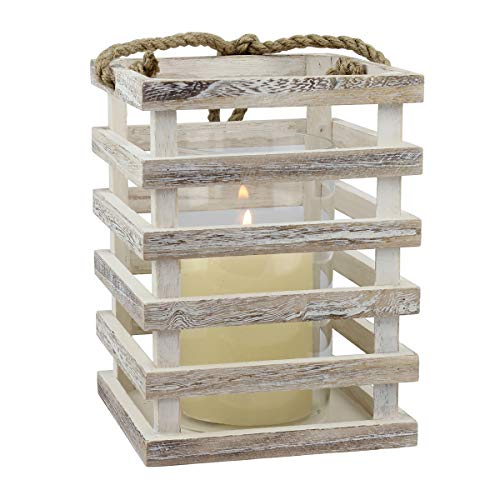 Stonebriar SB-5080B Worn White Wooden Beach House Candle Lantern with Rope Handle and Removable Glass Cylinder Hurricane, MEDIUM
