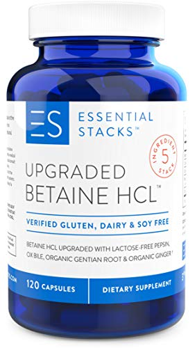 Essential Stacks Upgraded Betaine HCL with Pepsin, Ox Bile Extract, Organic Gentian Bitters & Organic Ginger - Gluten Free, Dairy Free, Soy Free & Non-GMO with 3rd Party Verified Allergen Testing