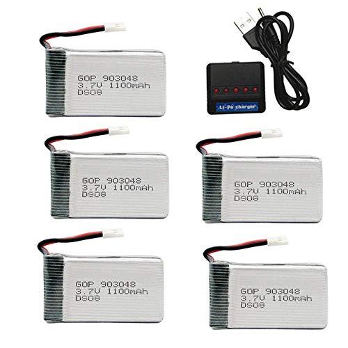 GzxLaY 3.7V 1100mAh 903048 Batería de lipo para SYMA X5S X5C X5SC X5SW M18 H5P X5 HuanQi 859B 727 RC Drone Parts li-po Batería 3.7v + cargador-5PCS_D_25C