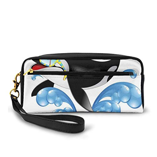 Pencil Case Pen Bag Pouch Stationary,Summer Holiday Ocean Cute Jumping Killer Whale with Sunglasses Cartoon Animal Love,Small Makeup Bag Coin Purse