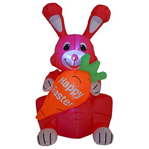 Gadpiparty Grande Inflable Conejo de Pascua Inflable Soplado Césped Jardín Decoración Pascua Primavera Fiesta Suministros 1 2 M