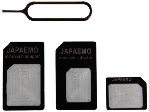 JAPAEMO 【Amazon限定】SIM変換アダプター 4点セット (標準, マイクロ, nano) for iPhone5S/5C/5/4S/4/3GS/3用 ブラック A-JE-NANO-SET-BK