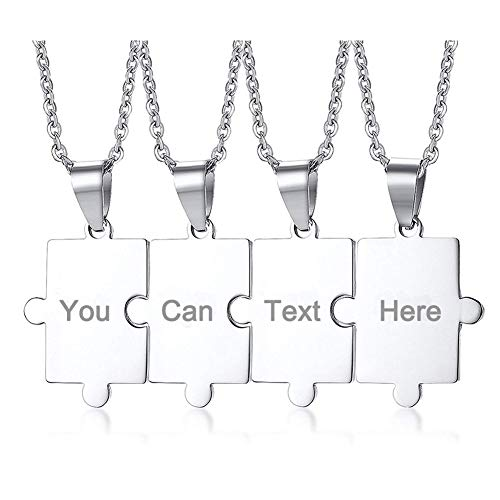 PJ JEWELLERY Customised Stainless Steel Matching Puzzle Piece Charm Best Friend Friendship BFF Puzzle Necklace for 4,Silver,Free Engraving