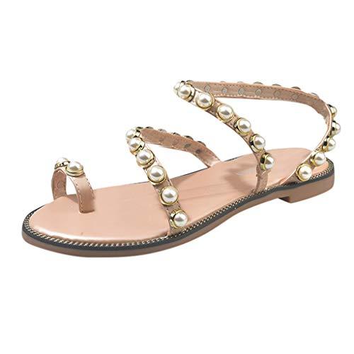 Dasongff Teenslippers voor dames, Pearl, platte sandalen