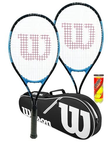 Wilson Ultra Excel - Raqueta de tenis (2 unidades, bolsa negra Wilson Advantage y 3 pelotas de tenis