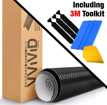 VViViD Black Carbon Fiber Automotive Vinyl Wrap Film w/ 3M Toolkit (6ft x 5ft)