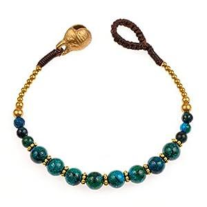 Brass and Genuine Green Chrysocolla Gemstone Spheres Beaded Bracelet
