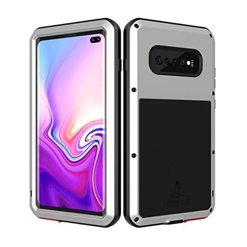 LOVE MEI Samsung Galaxy S10 Plus Case with Built in Glass Screen Protector Full Body Wireless Charging Sturdy Hard Cover heavy duty Shockproof Metal Silicone Rugged case for Samsung S10 Plus (Silver)