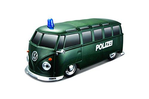 """Maisto Tech R/C VW Bus \""""Polizei\"""": Ferngesteuertes Auto mit Licht & Sound, Maßstab 1:24, Pistolengriff-Fernsteuerung, 5.8 km/h, grün (582091P)"""