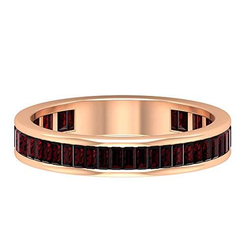 Rosec Jewels 10 quilates oro rosa baguette Red Garnet