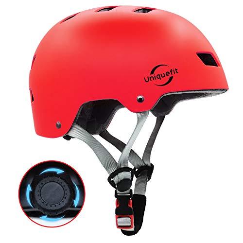 """UniqueFit Kinder Jugend Adult Verstellbarer Helm für Roller Radfahren Rollschuh (red, Medium:54-58cm/21.3\""""-22.8\"""")"""