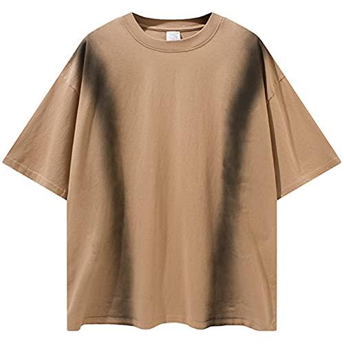 AXDNH Krawatte Farbstofffarbe T-Shirt Männer 100% Baumwolle Beiläufige Streetwear Sommer Top Tees Große Größe Kurzarm,Gelb,L