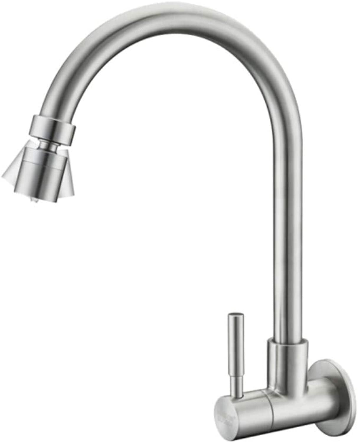 Basin Sink Faucet Bathroom Sink Faucetwall Mounted Single Cold Water Faucet, Universal redary Head, Kitchen Washing Basin, Balcony Laundry Pool Mop Pool