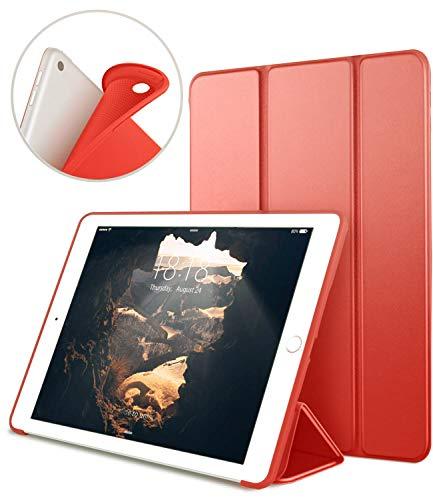 "Funda para Nuevo iPad 9.7"" 2018/2017, VAGHVEO Cubierta Estuche Plegable [ Auto-Sueño/Estela ] Carcasa TPU Suave Smart Cover para Apple iPad 5ª / 6ª Generacion (A1893 / A1954 / A1822 / A1823), Rojo"