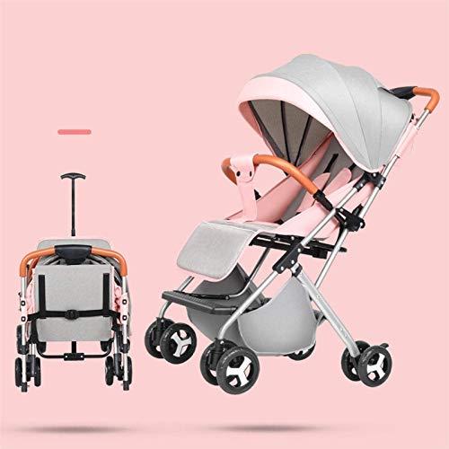 Cochecito liviano del cochecito de bebé plegable del cochecito de bebé del bebé del carruaje del bebé Los carros de paraguas pueden sentarse y mentir la trolley de cuatro ruedas 4.3kg (color: gris 2)