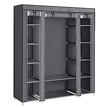 SONGMICS 59 Inch Closet Organizer Wardrobe Closet Portable Closet shelves Closet Storage Organizer with Non-woven Fabric Quick and Easy to Assemble Extra Strong and Durable Gray ULSF03G