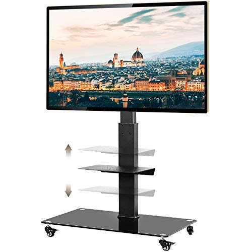 TAVR Tall Rolling Moblile Floor TV Stand Cart with Mount Lockable Caster Wheels and Audio Shelf for 37 40 42 47 50 55 60 65 70 inch LCD LED OLED QLED Flat Panel and Curved TVs