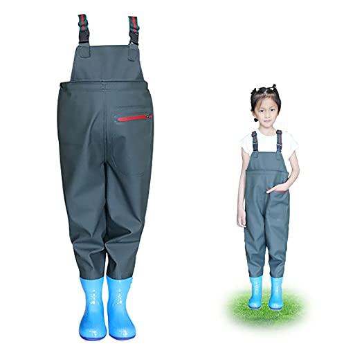 Pantalones de lluvia para niños, impermeables, transpirables, ropa de lluvia, verde oscuro, 33