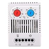 機械式温度調節器 0-60°C調節可能 電気サーモスタット NC/NO ヒーター フィルターファン 冷却装置用 温度調節器 スイッチ(ZR011)