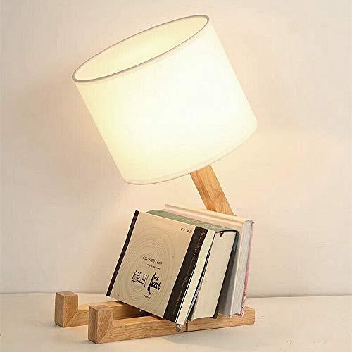 ELINKUME Creativa lampada da scrivania robot, mensola regolabile lampada da comodino in legno con paralumi in tessuto E27 vite per bambini camera da letto ufficio soggiorno illuminazione decorativa