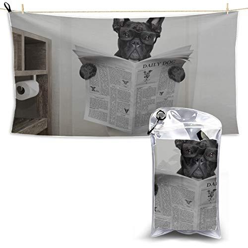 YUMOING Toilet Bulldog Watch Newspaper Towel Sport Quick Dry Bath Towels Microfiber Cleaning Towel Girls Sports Towel 27.5'' X 51''(70 X 130cm) Best for Gym Travel Camp Yoga Fitnes