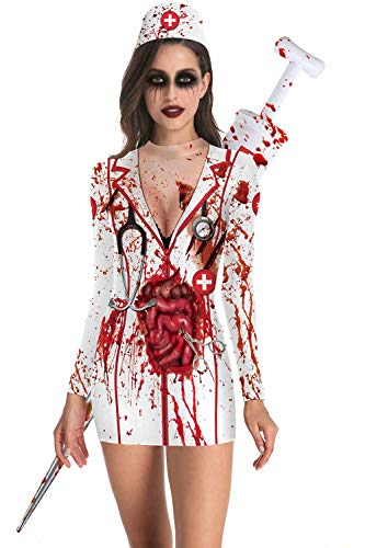 U LOOK UGLY TODAY - Costume da Donna Sexy, Aderente Dress-Blood S-M
