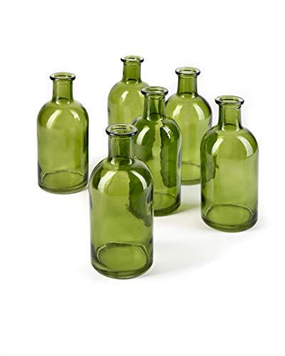 Serene Spaces Living Bud Vases, Apothecary Jars, Decorative Glass Bottles, Centerpiece for Wedding Reception, Mini Flower Vases, Small Medicine Bottles for Home Decor (Dark Green, Set of 6)