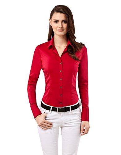 Vincenzo Boretti Damen Bluse besonders tailliert mit Stretch Langarm Hemdbluse elegant festlich Kent-Kragen auch für Business und unter Pullover rot 34