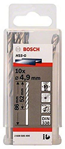 Bosch 2608585490 Din338 HSS-G Metal Drill Bit, 4.9mm x 52mm x 86mm, Silver, Pack of 10