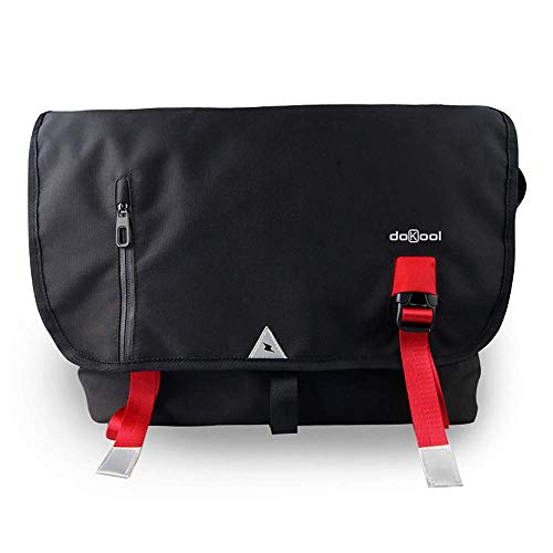 doKool Messenger Bags Umhängetasche Arbeitstaschen für Herren Damen Schultasche Umhängetasche Sporttasche Laptoptasche für 15.6 Zoll Laptop iPad Uni Arbeit, Studium, Reisen, Sport (Schwarz)