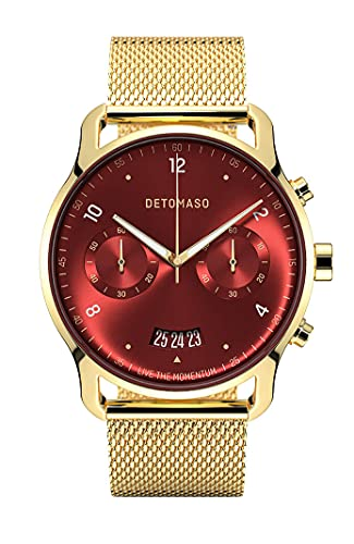 DETOMASO SORPASSO Chronograph Limited Edition Gold RED Herren-Armbanduhr Analog Quarz Mesh Milanese Gold