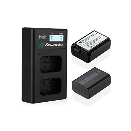 Powerextra - Juego de 2 baterías y cargador doble LCD para Sony NP-FW50 y Sony Alpha a6500, a6300, a6000, a7s, a7s ii, a5100, a5000, a3000, a7r, a7 ii, NEX 3/5/7 Series