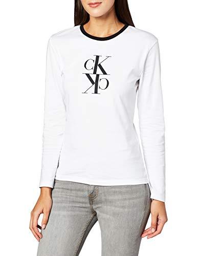 Calvin Klein Jeans Damen Mirrored Monogram Ls Ringer Tee Hemd, Bright White, S