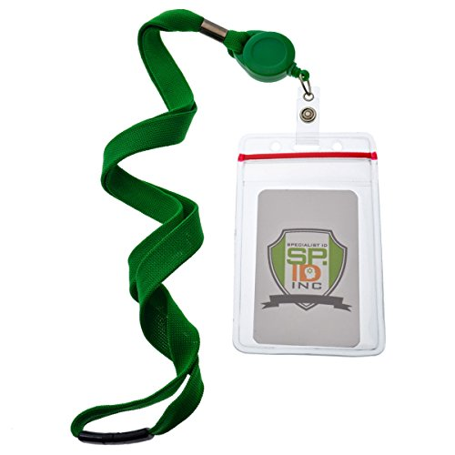 5 Pack - Premium Lanyards with Retractable Badge Reel and Vertical Heavy Duty Resealable Card Holder by Specialist ID (Green)
