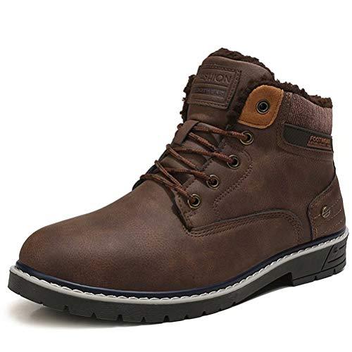 Stivali da Neve Uomo Inverno Pelliccia Caloroso Scarpe Antiscivolo Outdoor Sportive Escursionismo Boots Marrone 42