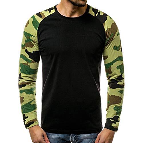 manadlian Hommes Pullover Sweats Camouflage T Shirt à Manches Longues Sweatshirt Pullover Classique Tops Garçon Slim Fit Blouse Chemises Automne 2019