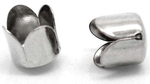 SiAura Material ® - 20 Stück Metall Endkappen, 8 x 8 mm, Silberfarben