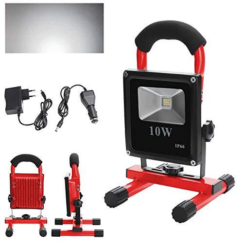 Hengda LED Baustrahler 10W Kaltweiß - Akku Arbeitsleuchte - Arbeitsscheinwerfer - Bauscheinwerfer - inkl. Standgestell und Tragegriff - 6000K - 900 Lumen - IP66 Wasserdicht