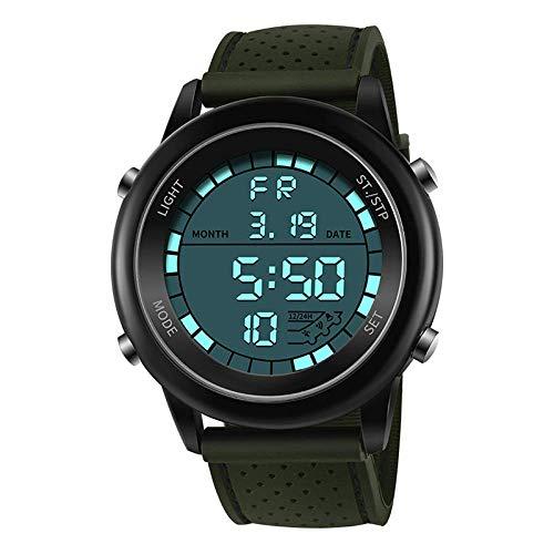 AYDQC Deportes al Aire Libre Luminoso electrónico Impermeable del Reloj de los Hombres de Student Grandes de la Manera señoras del dial de múltiples Funciones del Reloj fengong