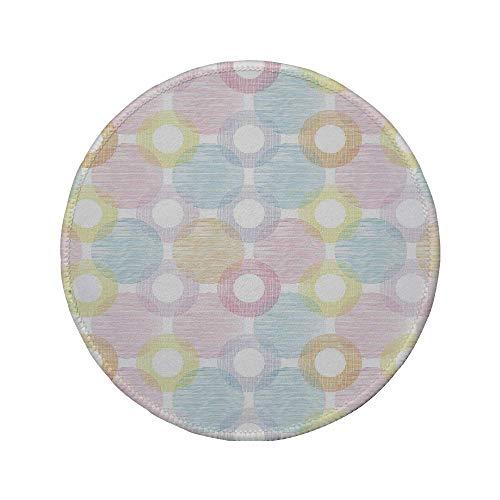 Rutschfreies Gummi-rundes Mauspad Pastell Ringformen und große Punkte Punkte Symmetrisch überlappende Figuren Geometrisch feminin dekorativ mehrfarbig 7.9