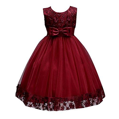 KISSOURBABY 2017 Flower Vintage Dresses Girls Knee Medium Children Birthday Party Clothing Wedding Dress (Burgundy,5-6Years)