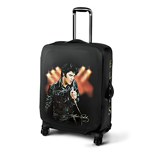 King of Rock 'N' Roll Suitcase Cover – Featuring Both Elvis Art and his Replica Signature. Stretches to fit Most Standard Checked Bag Size Luggage 68-76cm.The Bradford Exchange.