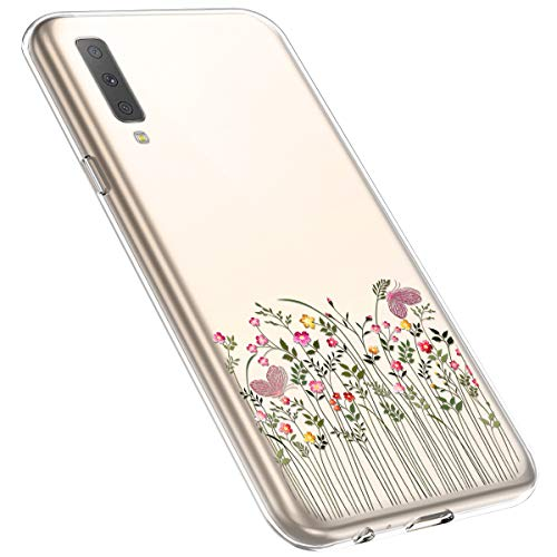 MoreChioce Coque Galaxy A7 2018,Compatible avec Coque Samsung Galaxy A750 Silicone Fleur,Jolie Ultra Mince Transparent Soft TPU Housse de Protection Souple Silicone Bumper Defender,Branche Fleur #12