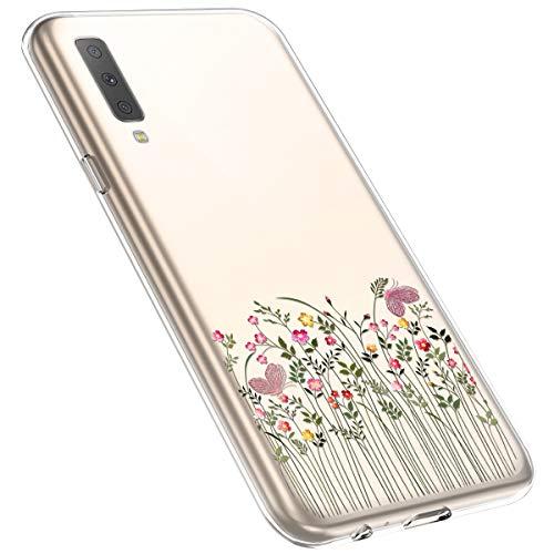 MoreChioce Coque Galaxy A7 2018,Compatible avec Coque Samsung Galaxy A750 Silicone Fleur,Jolie Ultra Mince Transparent Soft TPU Housse de Protection Souple Silicone Bumper Defender,Branche Fleur #12