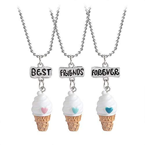 El juego de collares para siempre de simulación de helados Love Love incluye 3 cadenas y colgantes separados Longitud de la cadena: 40 cm + 7 cm, el colgante de helado mide aproximadamente 2,7 cm * 1,3 cm Collares de comida BFF de tema para niñas. Sí...