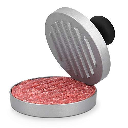 Navaris Prensa para hamburguesas de aluminio - Molde antiadherente para hacer hamburguesa casera de carne vegetariana o vegana - Kit con base y sello